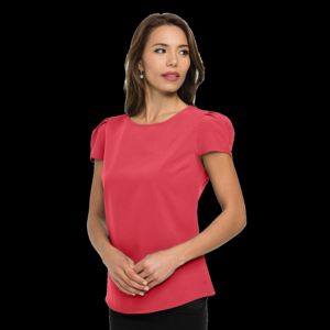 Women's short sleeve scoop neck blouse Thumbnail