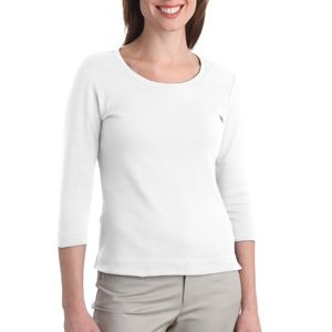 Ladies Modern Stretch Cotton 3/4 Sleeve Scoop Neck Shirt Thumbnail